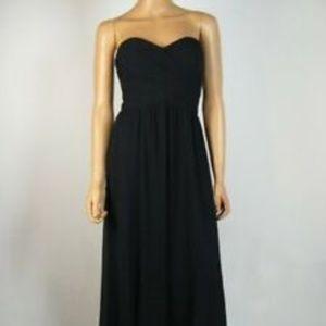Black strapless chiffon long dress